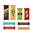 set of colorful chocolate bars icons isolated on vector image