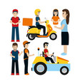 set of delivery couriers vector image