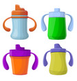 sippy cup icons set cartoon style vector image