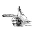 sketched hand making gun sign vector image