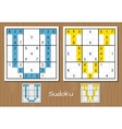 Sudoku set with answers U V letters vector image vector image