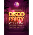 Typography Disco background Disco party poster vector image