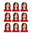 woman with different facial vector image vector image