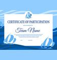 yacht regatta diploma award certificate template vector image