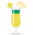 Yellow and green cocktail with umbrella lemon vector image