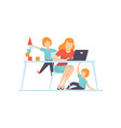 young mother working at home on laptop computer vector image vector image