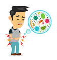 young sick man having stomach ache vector image vector image