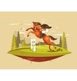 Horse and rider jumping hurdles vector image