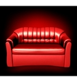 Red leather sofa vector image