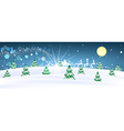 Rural winter snowy moonscape with trees and houses vector image