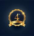 4th anniversary celebration badge label in golden