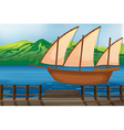 A wooden ship vector image