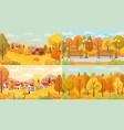 autumn landscape village park farm forest vector image