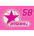 baseball girls print with crystal sequins vector image vector image