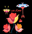beautiful flowers and butterflies to day of vector image