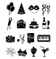 Birthday party icons set vector image