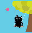 cat ride on the swing green tree flying pink bird vector image