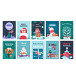 christmas greeting cards winter holiday postcards vector image vector image