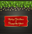 christmas tree branch snow flakes garland label vector image
