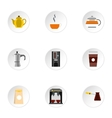 Coffee icons set flat style vector image vector image