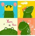 Colorful Fun Cartoon Frogs Animals Greeting Cards vector image vector image