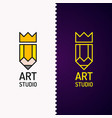 conceptual logo and label art studio vector image vector image