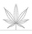 continuous one line drawing marijuana leaf concept vector image vector image