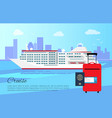 cruise ship and luggage poster vector image vector image