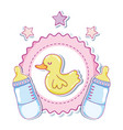 cute duck cartoons with baby bottles vector image