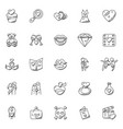 doodle icon set romance and valentine gifts vector image vector image