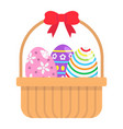 easter eggs in basket flat icon easter vector image vector image
