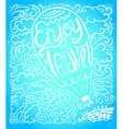 Enjoy travel callygraphic text in air balloon vector image vector image