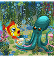 evil octopus robs fish her child a poster on vector image vector image