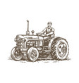 farm tractor retro sketch agricultural machinery vector image