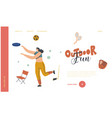 female character outdoor activity landing page vector image vector image