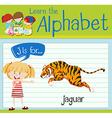 Flashcard letter J is for jaguar vector image vector image