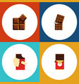 flat icon chocolate set of chocolate bar shaped vector image vector image