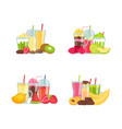 flat smoothie elements piles set isolated vector image vector image