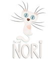 Funny white cartoon cat Nori hand drawn text vector image vector image