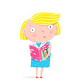 girl reading a book vector image vector image