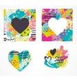 Hand drawn painted colorful heart icons vector image vector image
