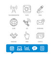 handshake contacts and gps satellite icons vector image vector image