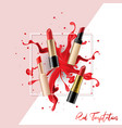 lipstick collection set with color splash vector image vector image