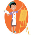Little boy painting with an easel vector image