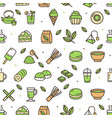matcha tea color thin line sign seamless pattern vector image