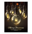 merry christmas 3d vintage light bulbs vector image