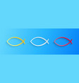 paper cut christian fish symbol icon isolated on vector image vector image