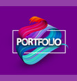 purple portfolio poster with colorful brush vector image