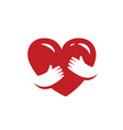 red heart in hands love health symbol vector image