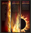 set of fire flame banner vector image vector image